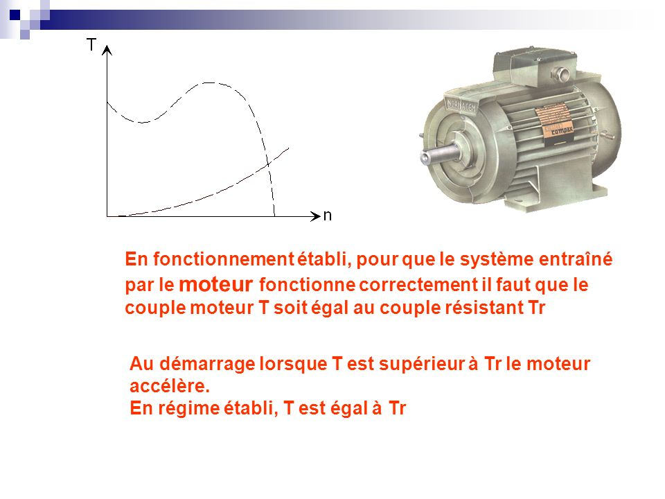 En fonctionnement établi, pour que le système entraîné par le moteur fonctionne correctement il faut que le couple moteur T soit égal au couple résistant Tr