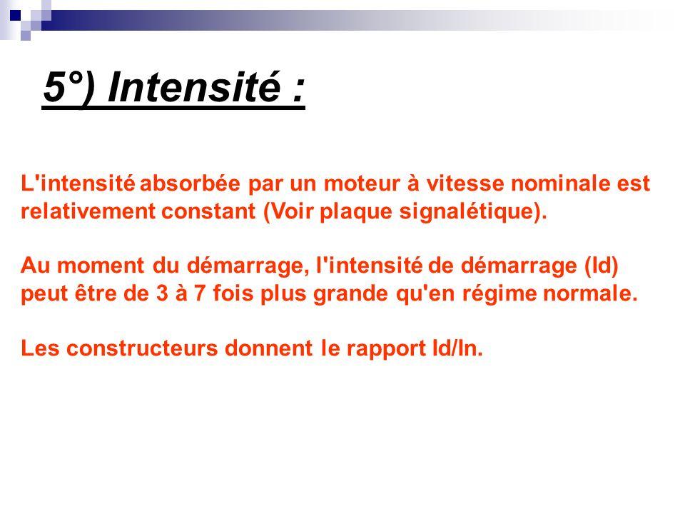 5°) Intensité : L intensité absorbée par un moteur à vitesse nominale est. relativement constant (Voir plaque signalétique).