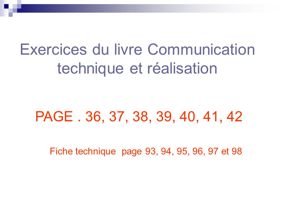 Exercices du livre Communication technique et réalisation