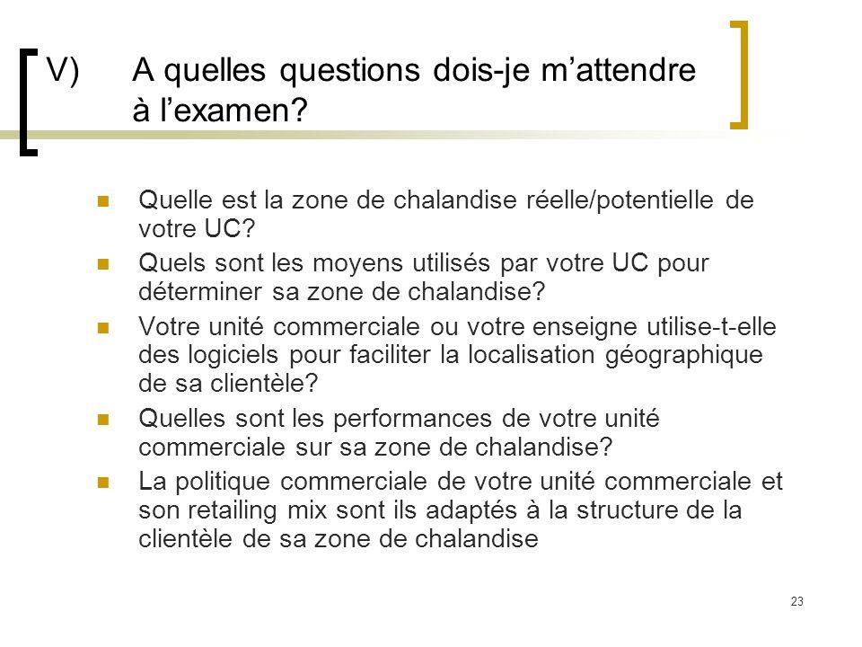 V) A quelles questions dois-je m'attendre à l'examen
