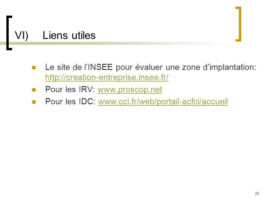 VI) Liens utiles Le site de l'INSEE pour évaluer une zone d'implantation: http://creation-entreprise.insee.fr/