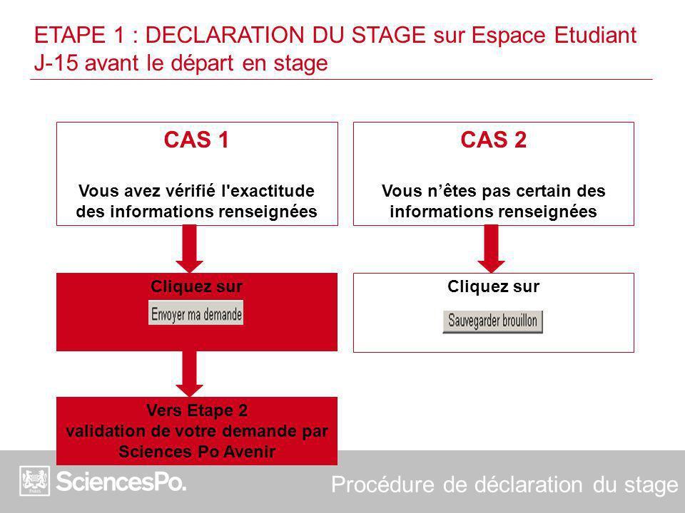 CAS 1 Vous avez vérifié l exactitude des informations renseignées
