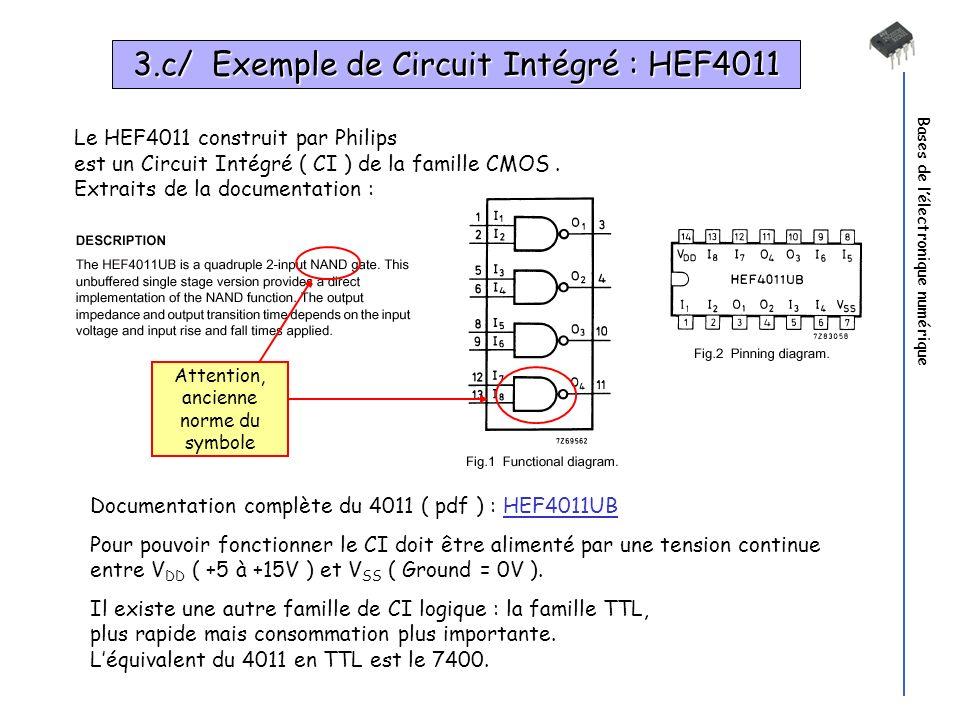 3.c/ Exemple de Circuit Intégré : HEF4011
