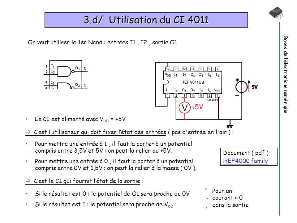 3.d/ Utilisation du CI 4011Bases de l'électronique numérique. On veut utiliser le 1er Nand : entrées I1 , I2 , sortie O1.