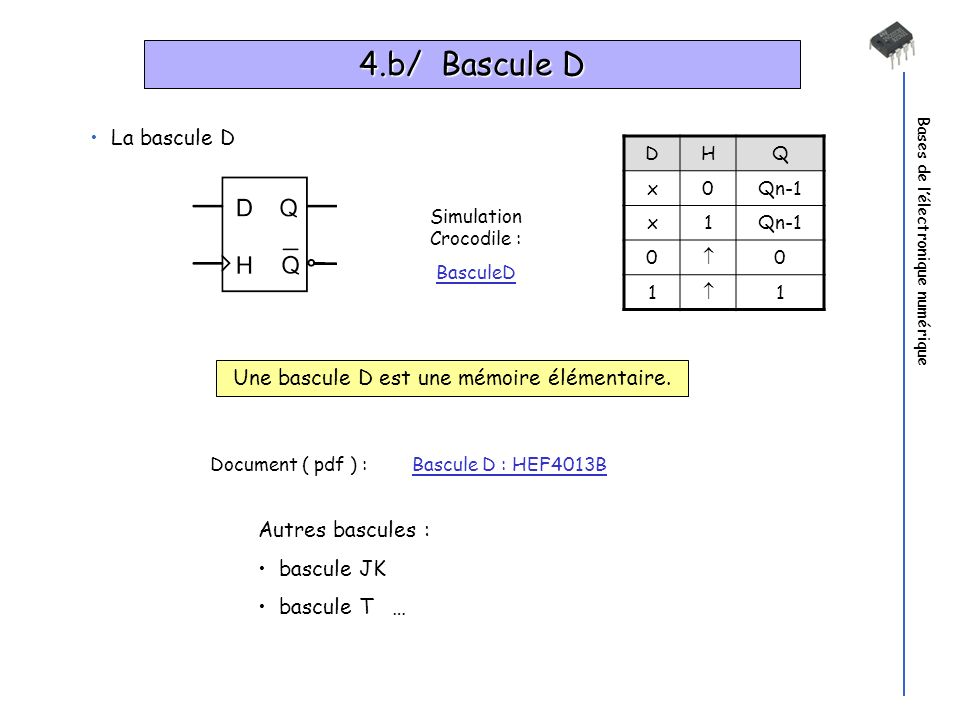 4.b/ Bascule D La bascule D Une bascule D est une mémoire élémentaire.