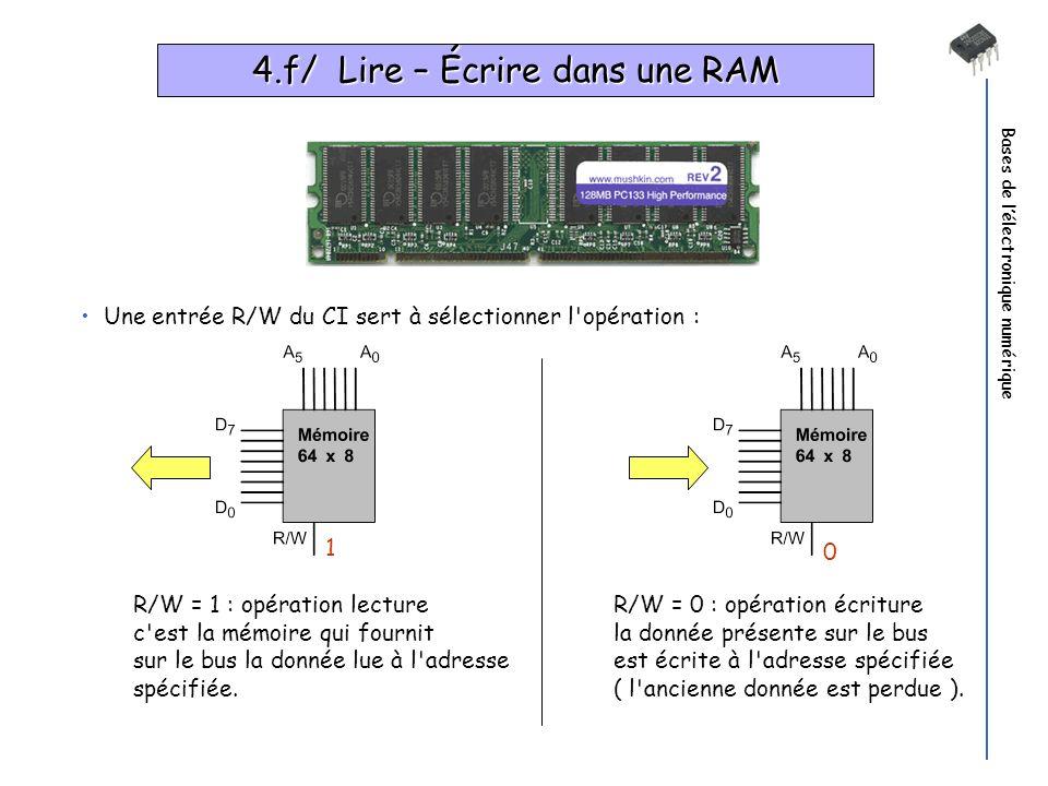 4.f/ Lire – Écrire dans une RAM