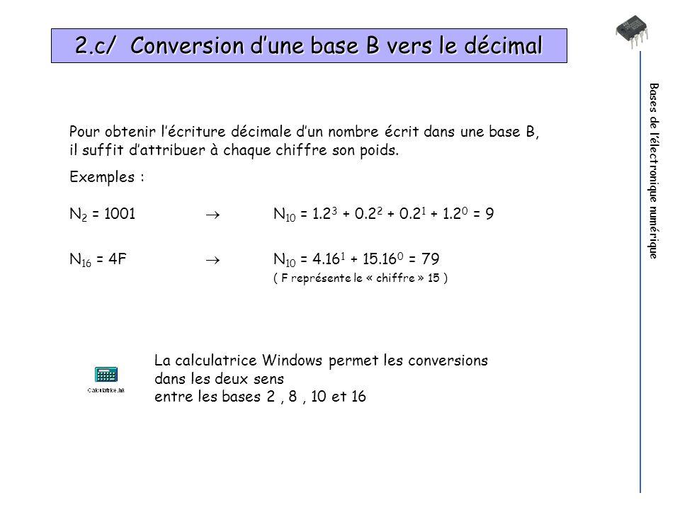 2.c/ Conversion d'une base B vers le décimal