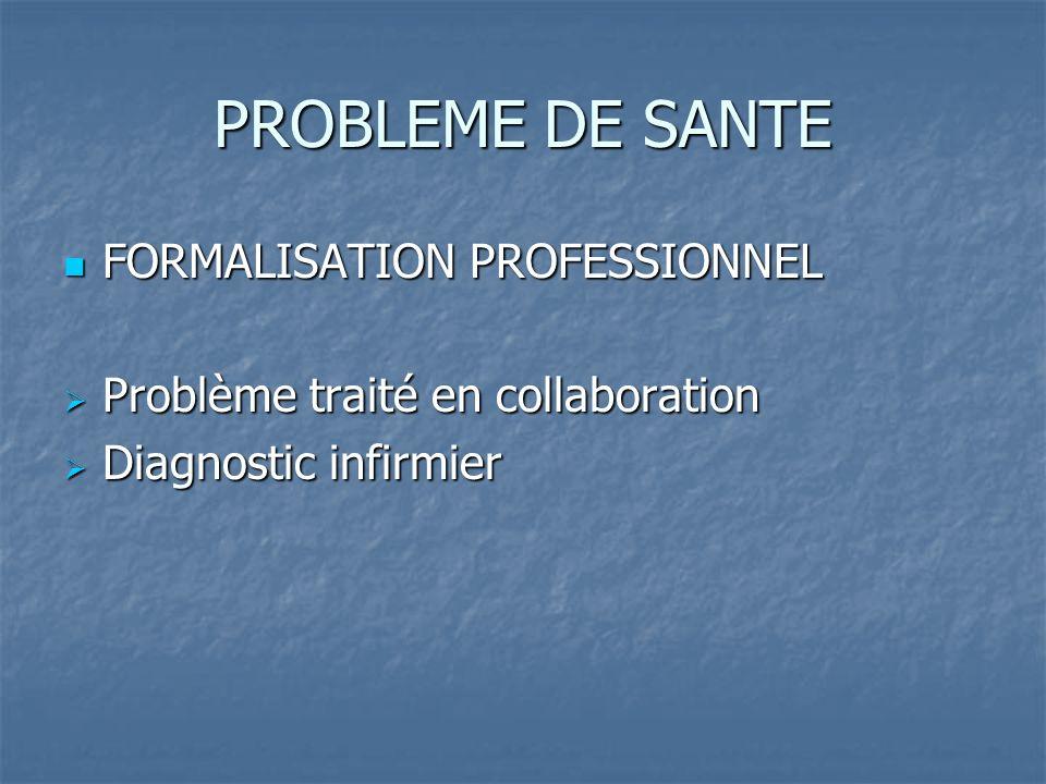 PROBLEME DE SANTE FORMALISATION PROFESSIONNEL