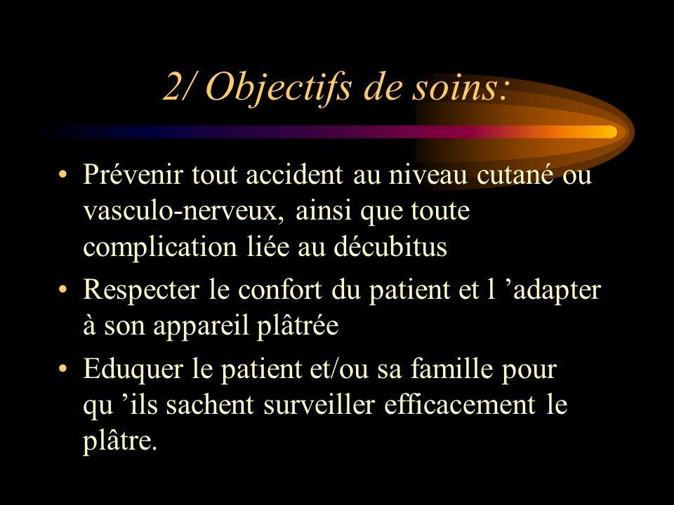2/ Objectifs de soins: Prévenir tout accident au niveau cutané ou vasculo-nerveux, ainsi que toute complication liée au décubitus.