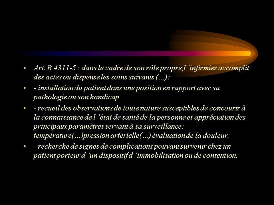 Art. R 4311-5 : dans le cadre de son rôle propre,l 'infirmier accomplit des actes ou dispense les soins suivants (…):
