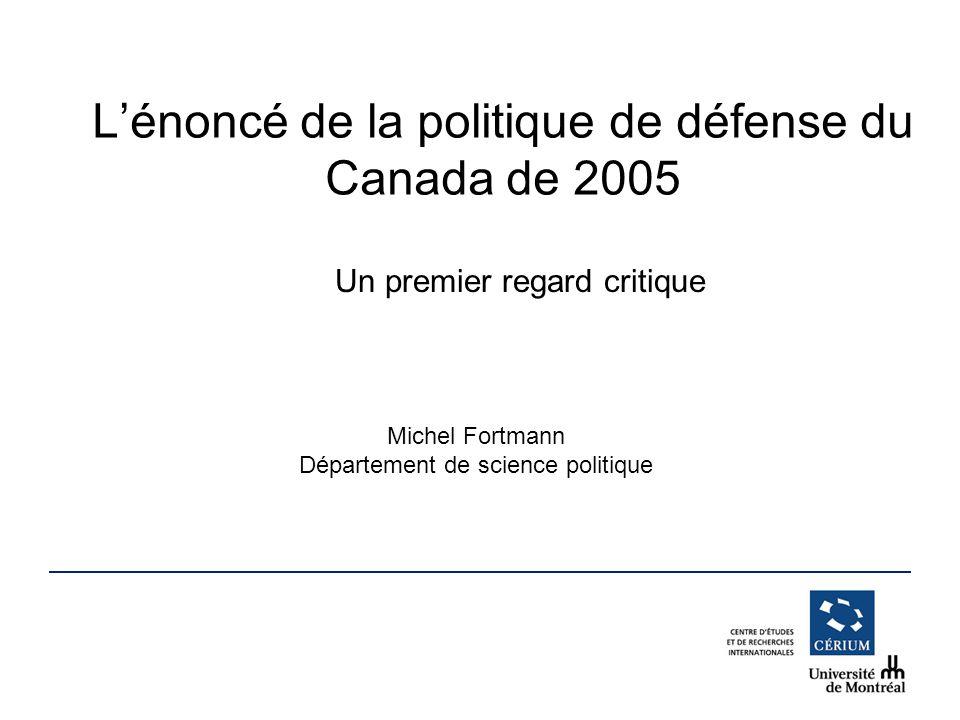 L'énoncé de la politique de défense du Canada de 2005