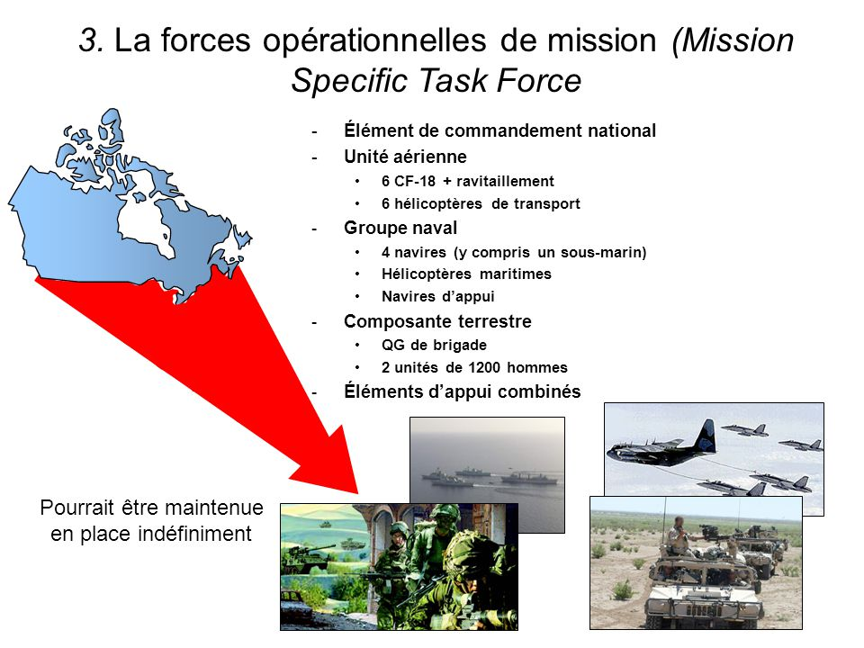 3. La forces opérationnelles de mission (Mission Specific Task Force