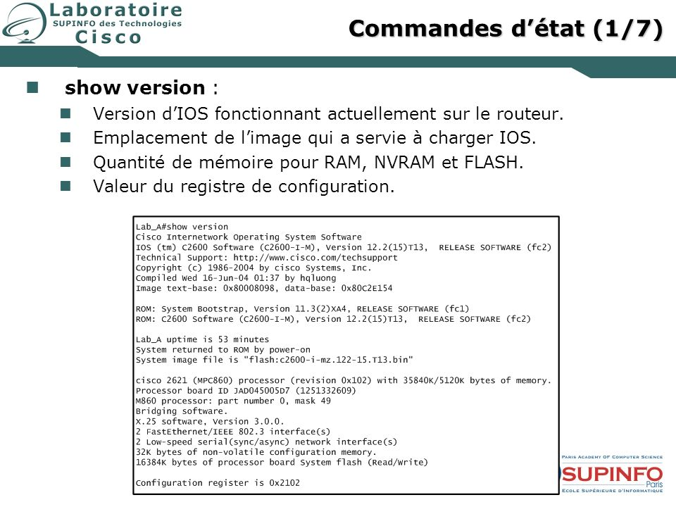 Commandes d'état (1/7) show version :