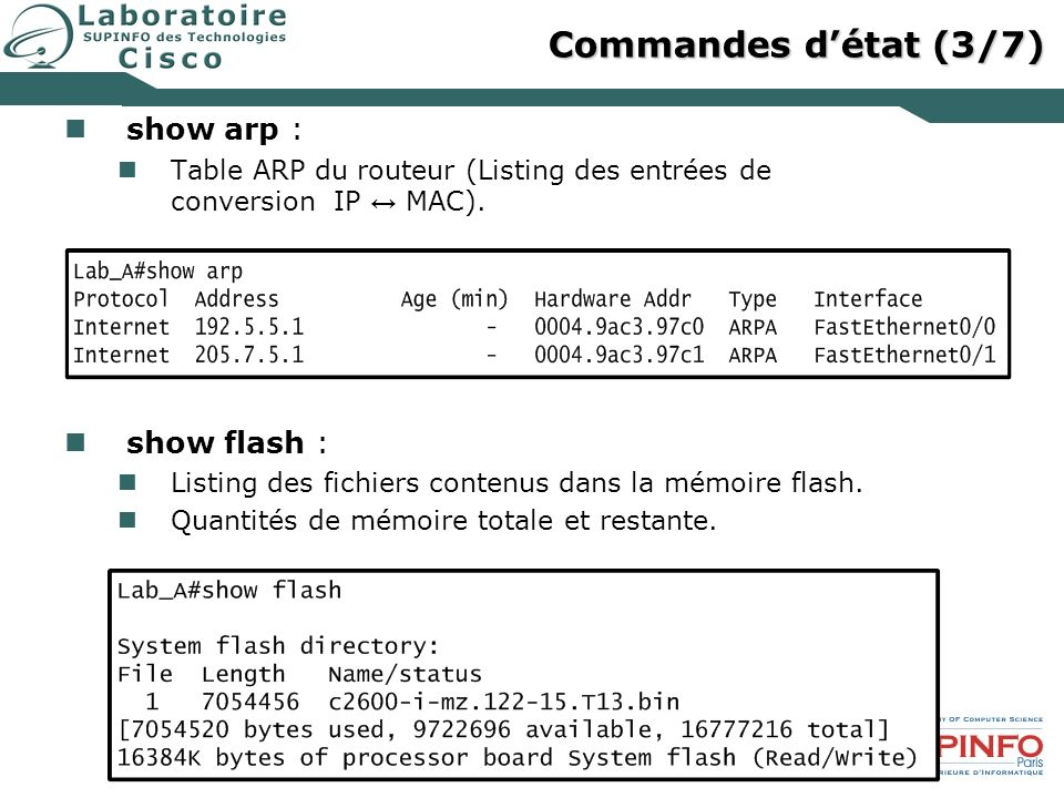 Commandes d'état (3/7) show arp : show flash :