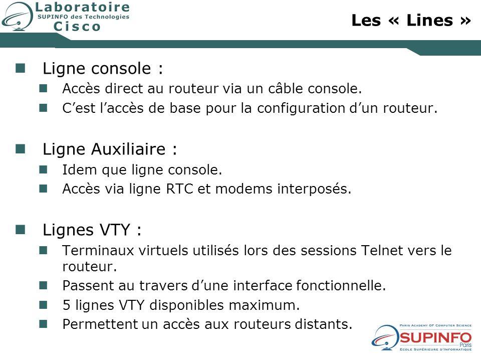 Les « Lines » Ligne console : Ligne Auxiliaire : Lignes VTY :