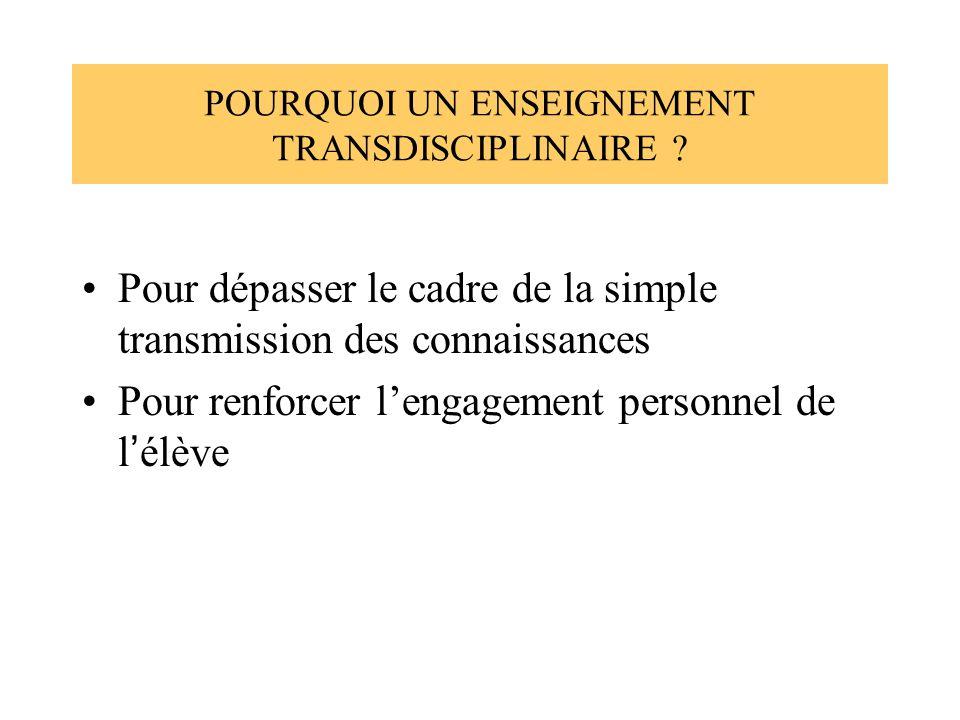POURQUOI UN ENSEIGNEMENT TRANSDISCIPLINAIRE