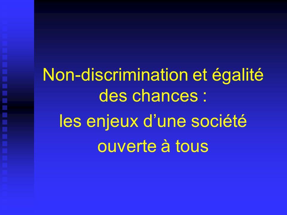 Non-discrimination et égalité des chances : les enjeux d'une société