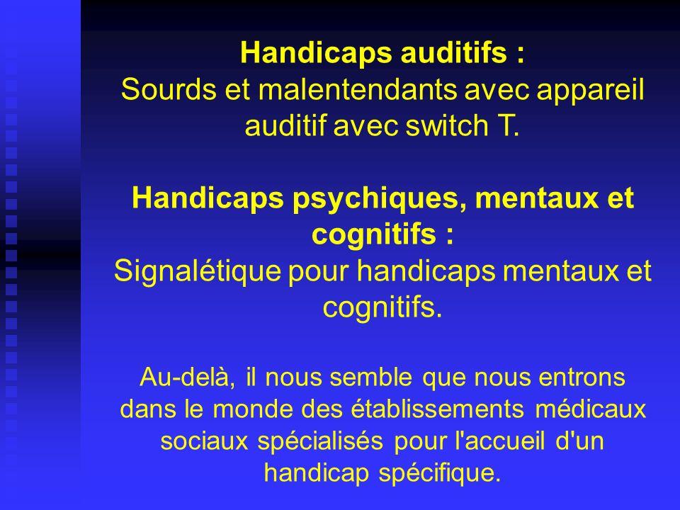 Handicaps auditifs : Sourds et malentendants avec appareil auditif avec switch T. Handicaps psychiques, mentaux et cognitifs : Signalétique pour handicaps mentaux et cognitifs.