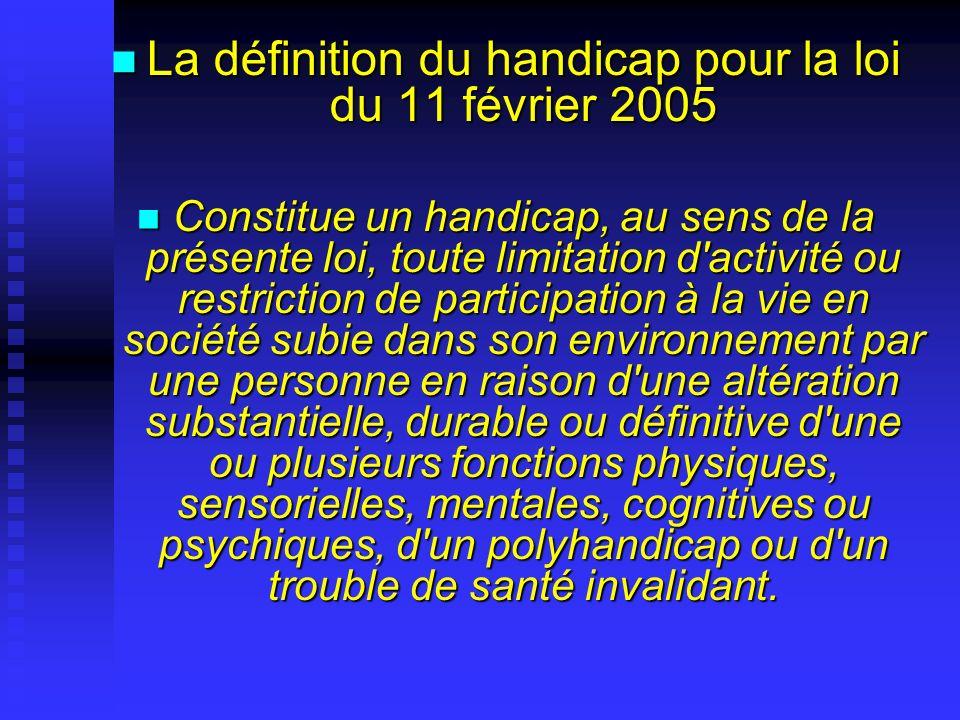 La définition du handicap pour la loi du 11 février 2005