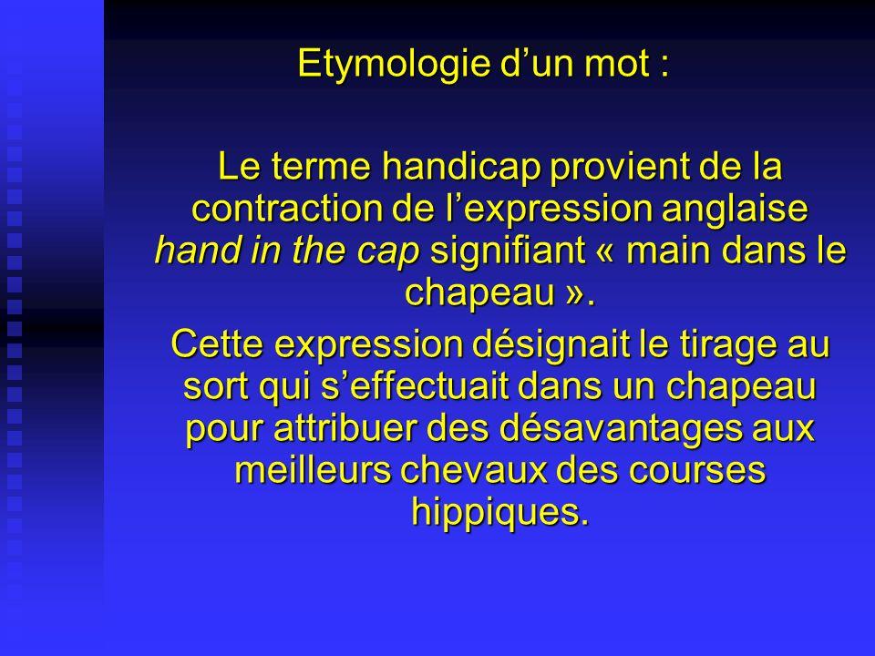 Etymologie d'un mot : Le terme handicap provient de la contraction de l'expression anglaise hand in the cap signifiant « main dans le chapeau ».
