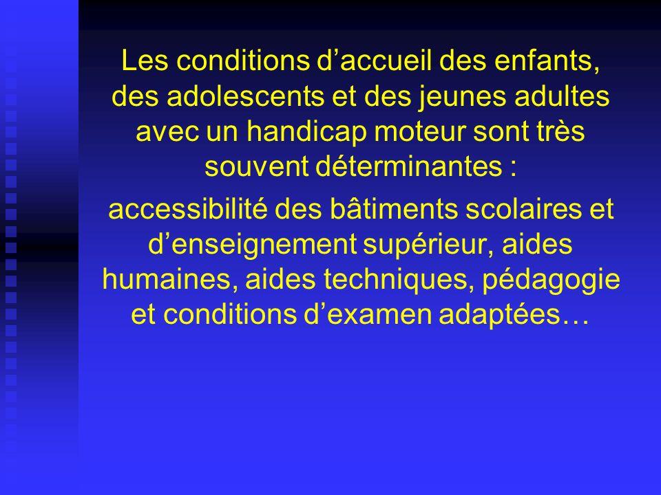 Les conditions d'accueil des enfants, des adolescents et des jeunes adultes avec un handicap moteur sont très souvent déterminantes :