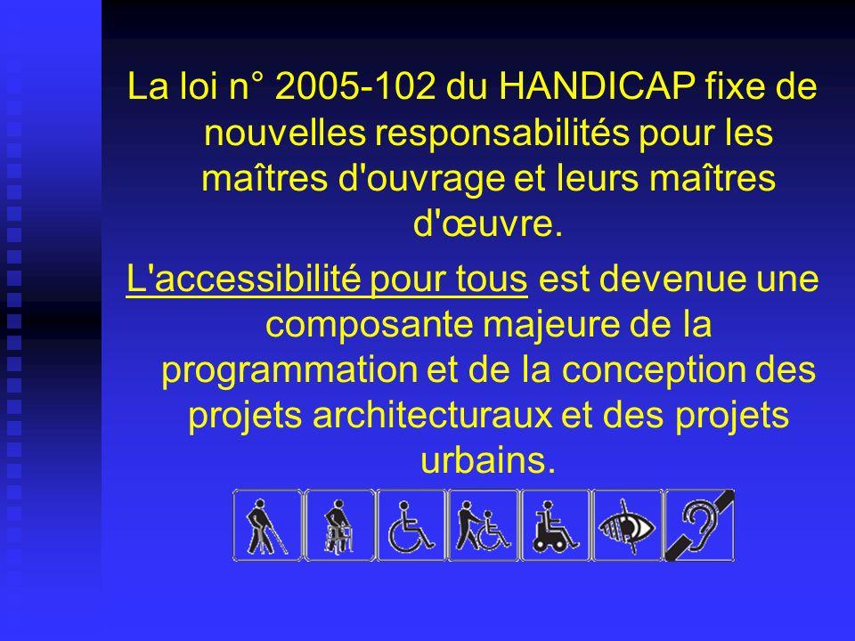 La loi n° 2005-102 du HANDICAP fixe de nouvelles responsabilités pour les maîtres d ouvrage et leurs maîtres d œuvre.