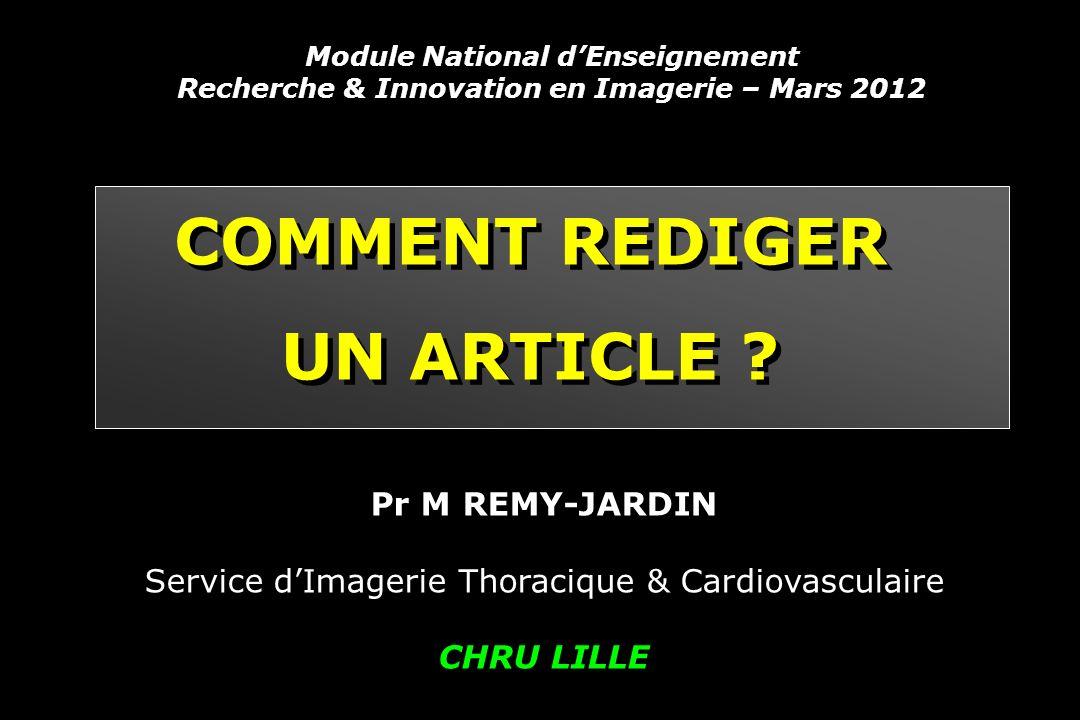 COMMENT REDIGER UN ARTICLE