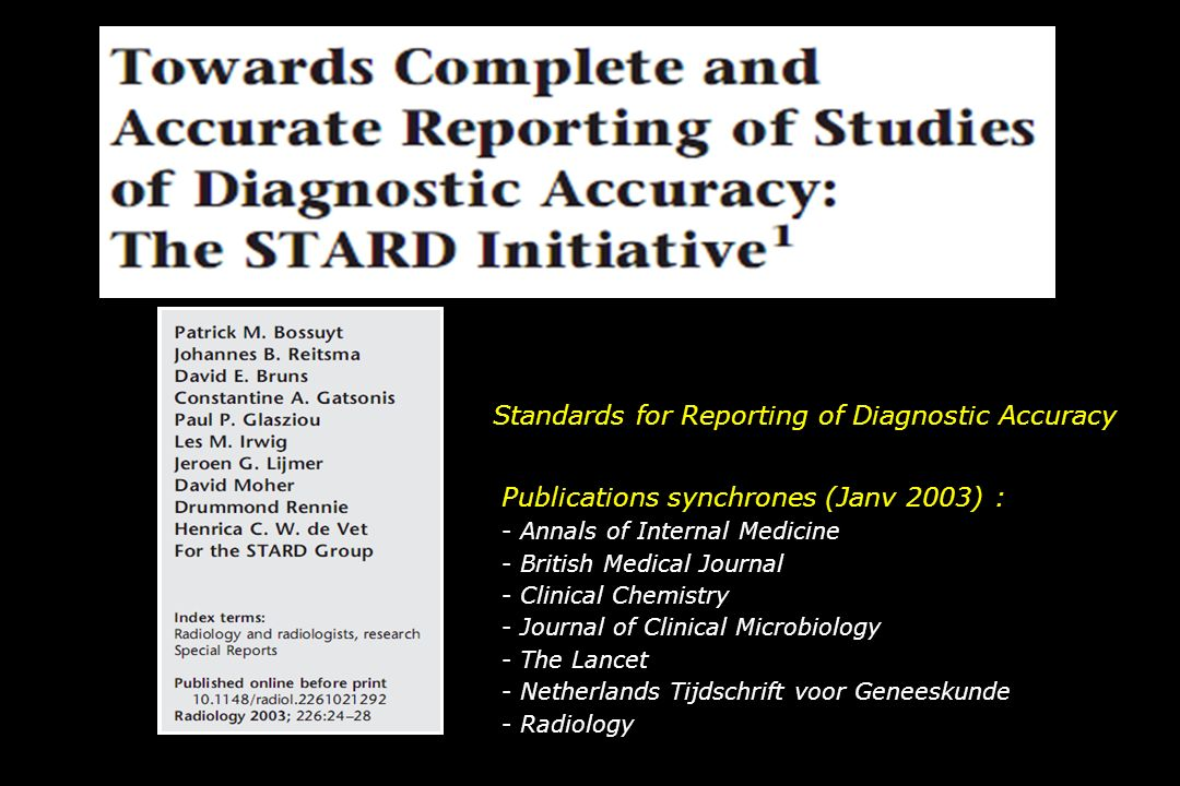 Standards for Reporting of Diagnostic Accuracy