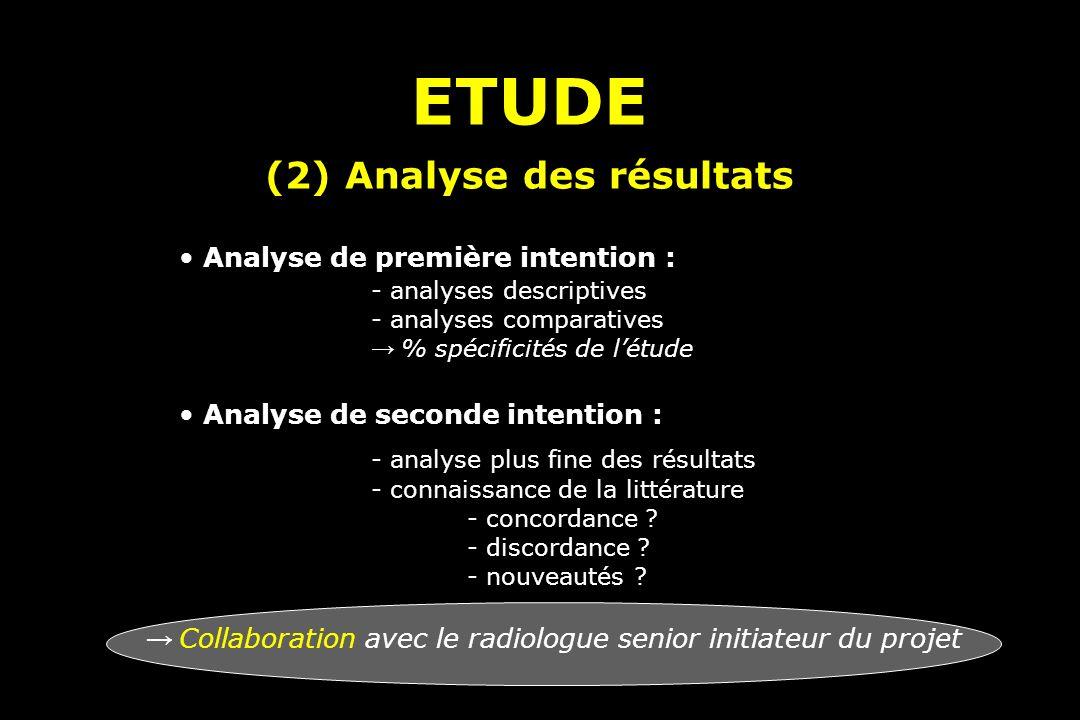 (2) Analyse des résultats