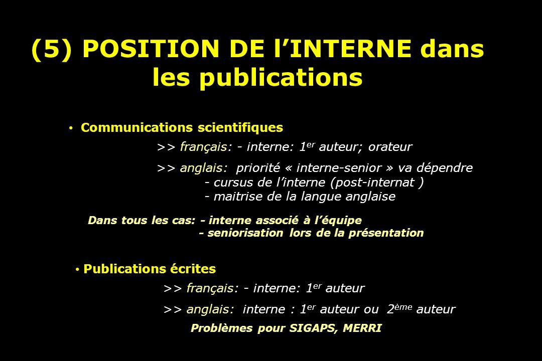 (5) POSITION DE l'INTERNE dans les publications