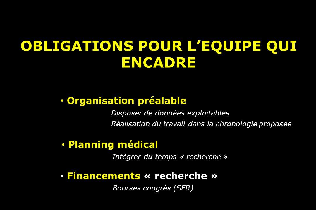 OBLIGATIONS POUR L'EQUIPE QUI ENCADRE