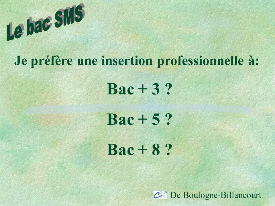 Bac + 3 Bac + 5 Bac + 8 Le bac SMS