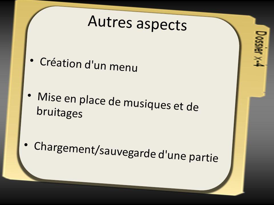 Autres aspects Création d un menu