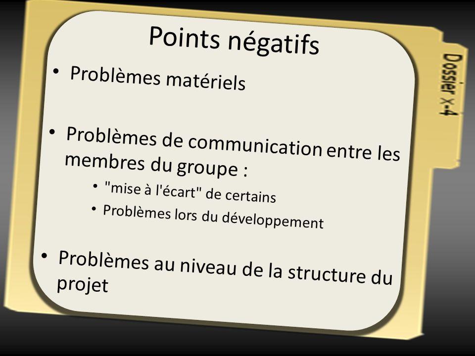 Points négatifs Problèmes matériels