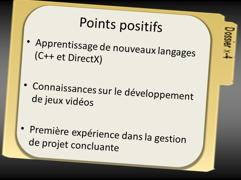 Points positifs Apprentissage de nouveaux langages (C++ et DirectX)