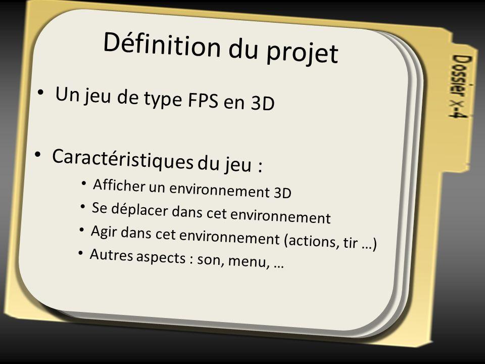 Définition du projet Un jeu de type FPS en 3D