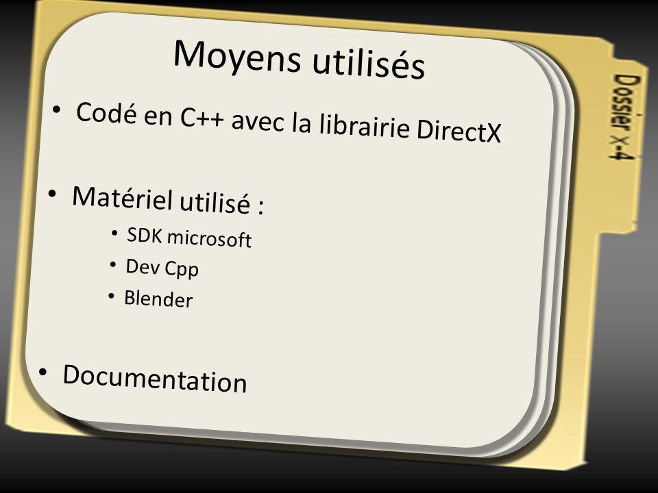 Moyens utilisés Codé en C++ avec la librairie DirectX