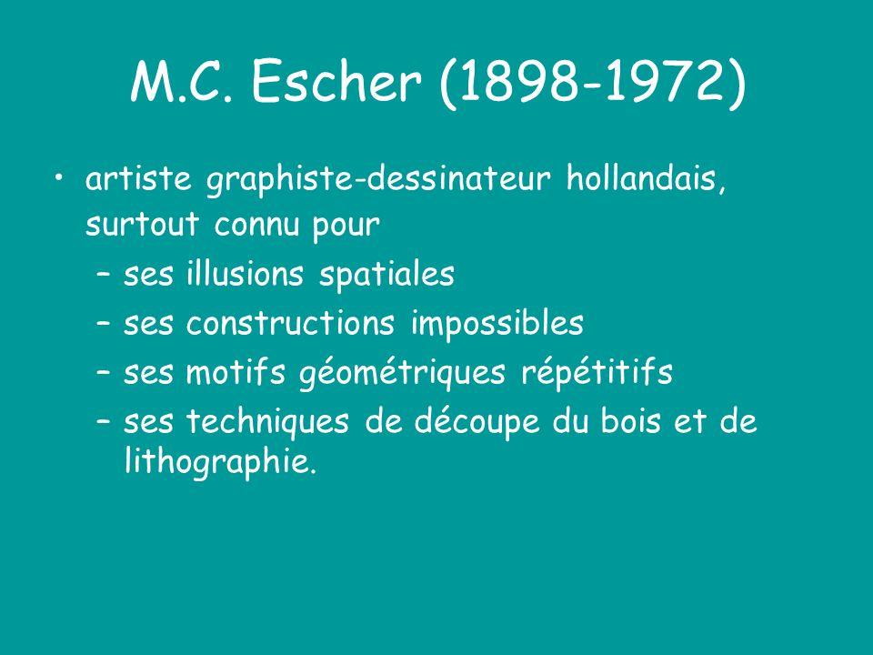 M.C. Escher (1898-1972) artiste graphiste-dessinateur hollandais, surtout connu pour. ses illusions spatiales.