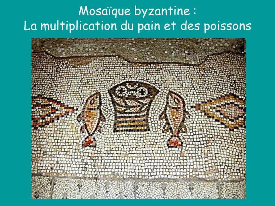 Mosaïque byzantine : La multiplication du pain et des poissons