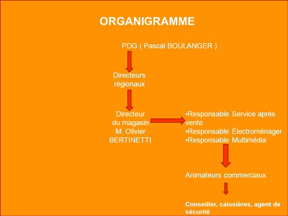 ORGANIGRAMME PDG ( Pascal BOULANGER ) Directeurs régionaux Directeur