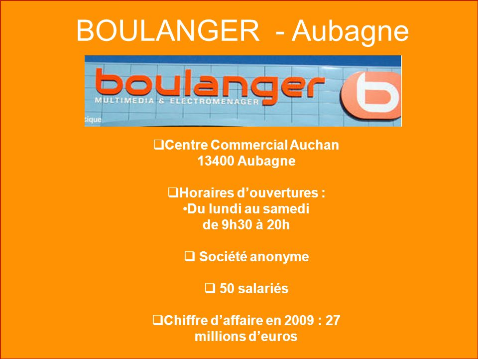 Visites en unit s commerciales ppt video online t l charger - Horaire auchan aubagne ...