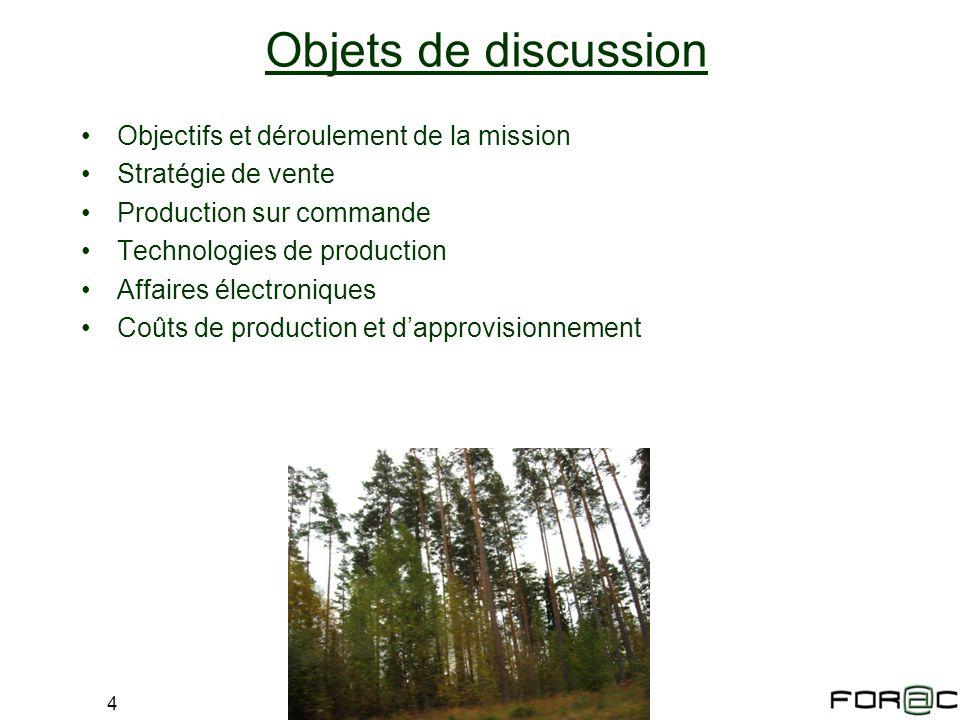 Objets de discussion Objectifs et déroulement de la mission