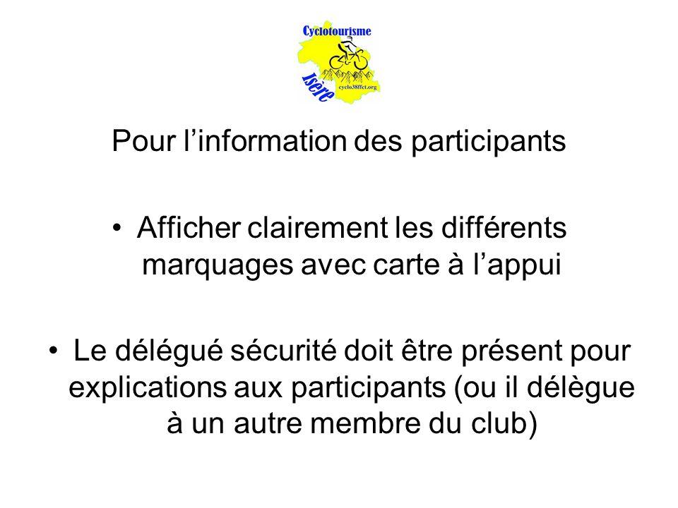 Pour l'information des participants