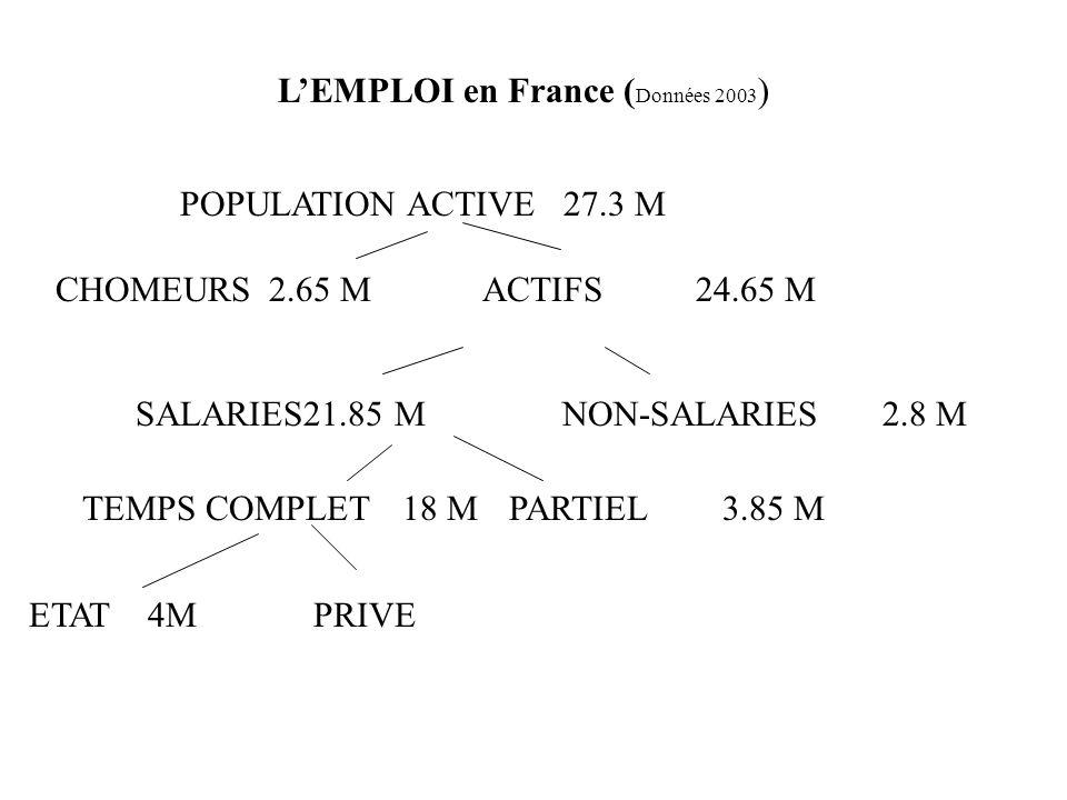 L'EMPLOI en France (Données 2003)