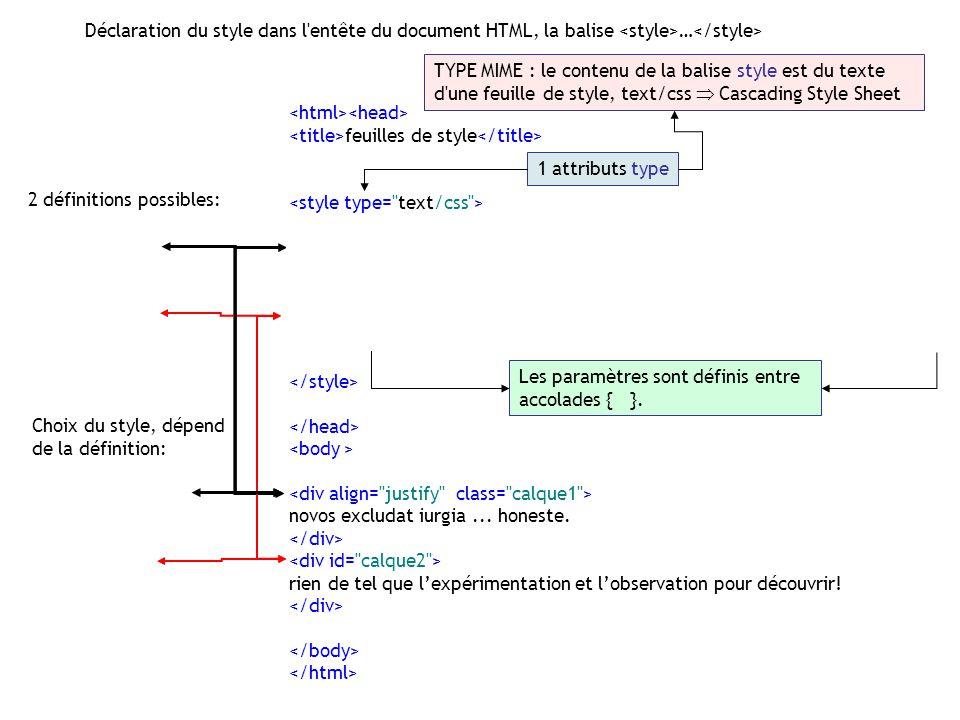 Déclaration du style dans l entête du document HTML, la balise <style>…</style>