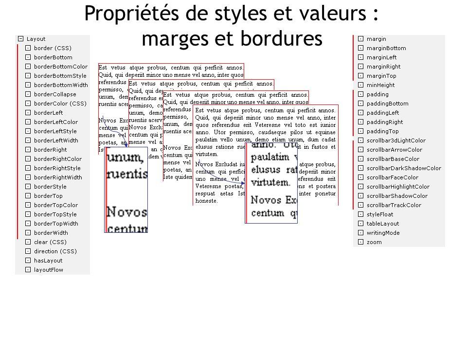 Propriétés de styles et valeurs : marges et bordures