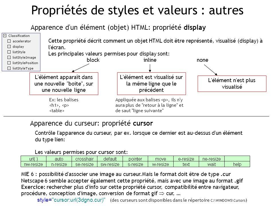 Propriétés de styles et valeurs : autres