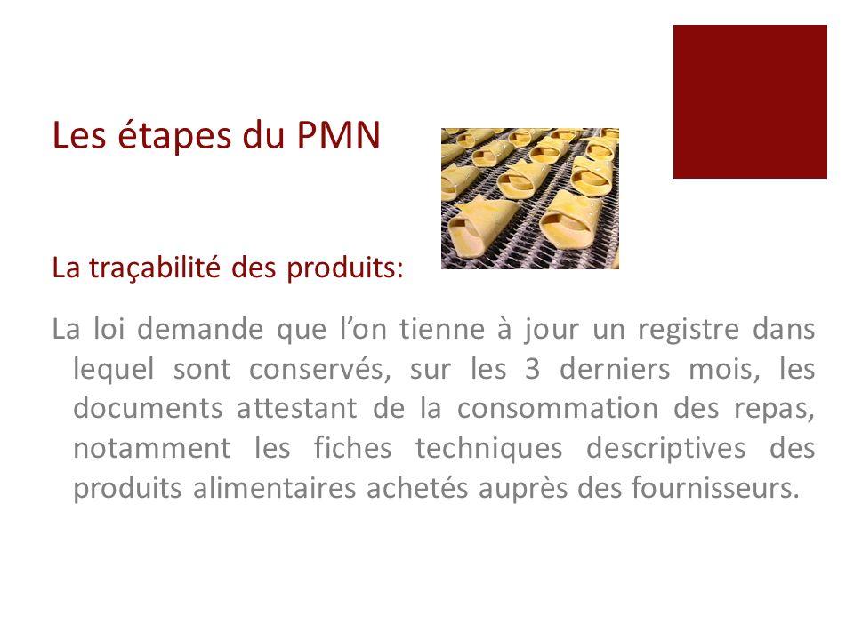 Les étapes du PMN La traçabilité des produits: