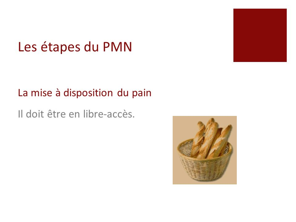Les étapes du PMN La mise à disposition du pain
