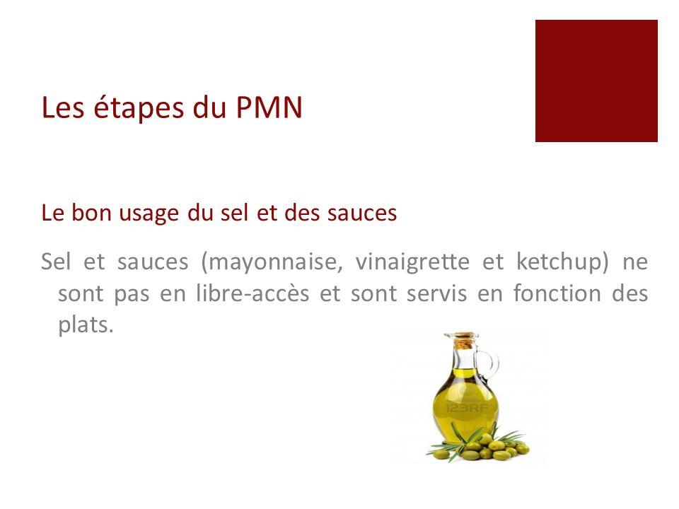 Les étapes du PMN Le bon usage du sel et des sauces
